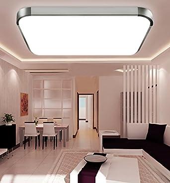ETiME® LED Deckenleuchte 12W Kaltweiss Deckenlampe Modern Wohnzimmer Lampe  Schlafzimmer Küche Panel Leuchte Silber (