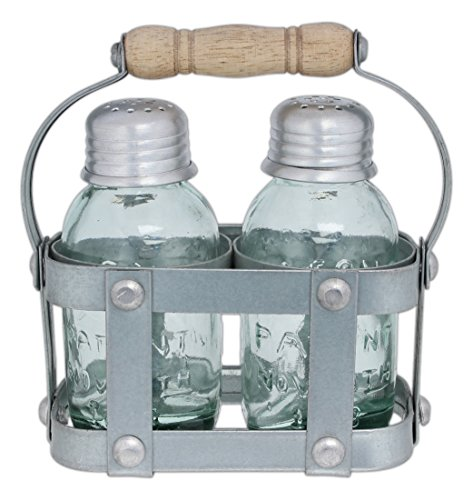 CTW Home Collection Mason Jar Salt & Pepper Shakers with Milk Crate Style Caddy