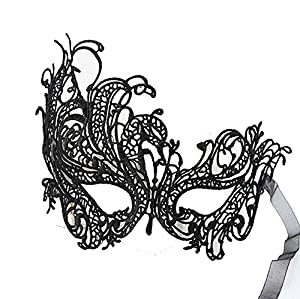 Women Black Sexy Gothic Masquerade Mask Cutout Half Face Phoenix Eye Masks Lace For