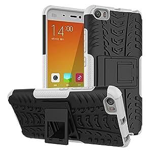 """Xiaomi Mi 5–Carcasa antigolpes, Xiaomi Mi 5Cover, de doble capa protección híbrido de absorción de golpes Rugged Case Carcasa rígida con función atril para Xiaomi Mi 5.15""""5(Blanco)"""
