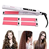 IFANSTYLE Curling Tongs - 3 in 1 Hair Curling Wand 25mm in Diameter, Flat Iron Hair Straightener with Curler Dual Voltage for Women Teenage Girl Ideal Gift,White