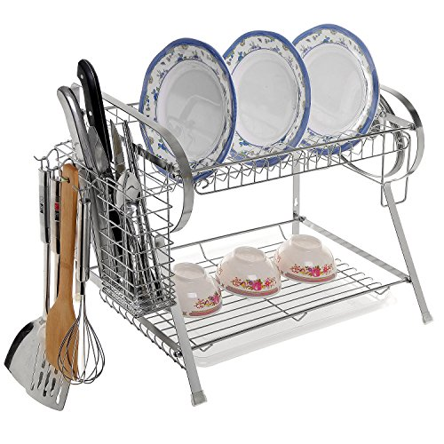 Modern Stainless Steel Kitchen Dish Drying Rack w/ Plastic Drip Tray, Utensil Hooks, & Hanging Basket (Tier Dish Rack)