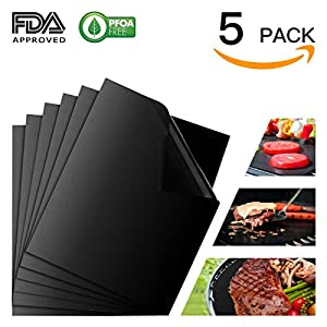 Grill Mat Set of 5, Non-Stick BBQ Grill & Baking Mats, FDA Approved, PFOA Free, Reusable and Easy to Clean BBQ Accessories for Gas, Charcoal, Electric Grills - Black