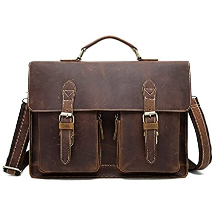 Image Unavailable. Image not available for. Color  Men s Crazy Horse Leather  Business Bag Work Bag Messenger Bag Tote ... 48bcc1d39d9cc