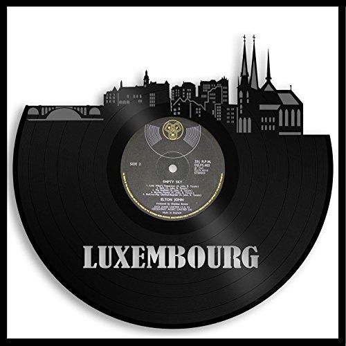 VinylShopUS - Luxemburg Vinyl Wall Art Framed City Skyline Cityscape Record | Europe Travel Memories Gift for Idea | Living Room Bedroom Decoration Decor