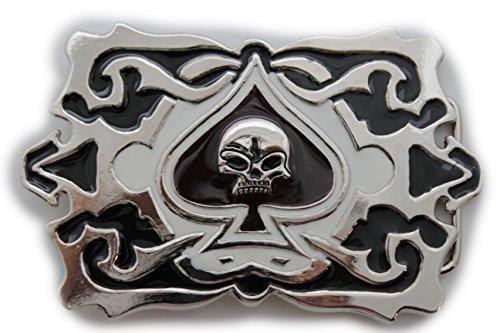 uckle Fashion Silver Metal Ace Of Spades Skeleton Skull ()