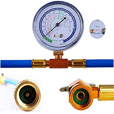 R134a Charging Hose to Refrigerator - with Gauge - R-134a can to R-12/R-22 Port, Include R12 to R134a Conversion Kit for A/C Pro Refrigerant & BPV31 Piercing Valve: Home Improvement