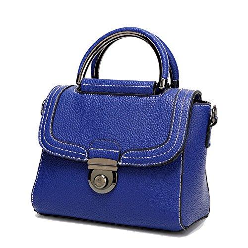 AJLBT Trend Bolso De Patrón Litchi Versión Coreana De La Tendencia De Hombro De Mujer Bolso De Mensajero Blue
