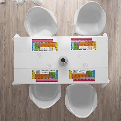 ABAKUHAUS Tavola Periodica Tovaglietta Americana Set di 4 Chimica Lovers Tovagliette in Tessuto Lavabile per Tavolo da Pranzo Multicolore