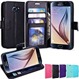 LK 3320724 PU Leather Wallet Case with Stand for Samsung Galaxy S6 - Black