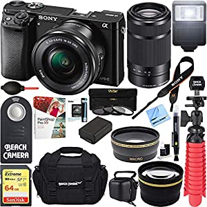Sony Alpha a6000 24MP Mirrorless Camera 16-50mm & 55-210mm Zoom Lens + 64GB Accessory Bundle + Deluxe Gadget Bag + Extra Battery+Wide Angle Lens+2x Telephoto Lens