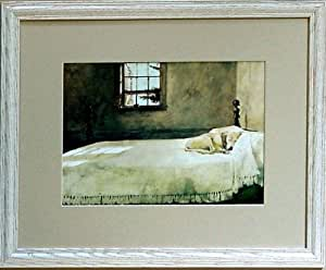 Framed Andrew Wyeth Lab Dog On Bed Picture Bedroom Prints Posters Prints