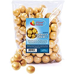 Gumballs in Bulk – Gold Gumballs for Candy Buffet – Shimmer Gumballs 1 Inch – Bulk Candy 2 LB