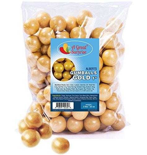 Gumballs in Bulk - Gold Gumballs for Candy Buffet - Shimmer Gumballs 1 Inch - Bulk Candy 2 -