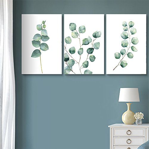 3 Panel Watercolor Style Tropical Plant Leaves x 3 Panels