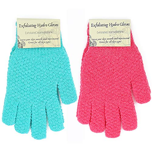 Exfoliating Hydro Gloves - 2 pairs of Hydro Exfoliating Gloves with BONUS shower hook - bath gloves, scrub gloves for men and women in two colors