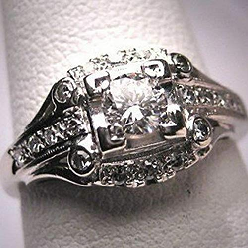 Waldenn Vintage 3.6CT WhiteTopaz Women Men 925 Silver Ring Wedding Engagement Size 6-10 | Model RNG - 14314 | 10