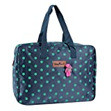 Damara Women Love Bear Dots Printing Weekend Overnight Luggage Bags,Navy Blue