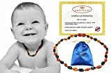Baltic Amber Baby Teething Necklaces(Unisex) Anti Flammatory, Drooling & Teething Pain Reduce Properties, Certificated High Quality Bean Beads (cognac- cherry), Quality Guaranteed