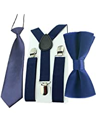HABI Toddler Baby Boys Clip On Suspenders Bow Tie Necktie Wedding Accessories (Navy Blue)