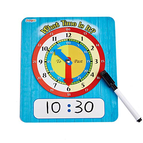 ZazzyKid Educational Time Learning Clock for Students - 5 Clocks per Pack - 7 x 8 Inches Cardboard Clock - Learn and Practice What Time is It - Write & Wipe Surface with Erasable Markers