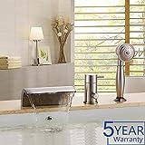 waterfall tub faucet brushed nickel Gloria Modern Waterfall Brushed Nickel Bathtub Faucet Set with Handheld Shower 1 Handle 3 Hole Brass Body Deck Mount