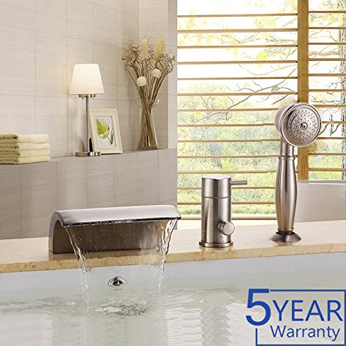 1 Waterfall (Gloria Modern Waterfall Brushed Nickel Bathtub Faucet Set with Handheld Shower 1 Handle 3 Hole Brass Body Deck Mount)