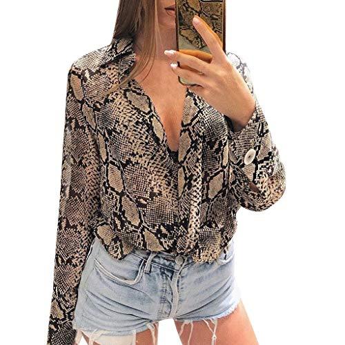 ANJUNIE Chiffon Casual Blouse for Womens Snake Printed Button Up Long Sleeve Loose Shirt Top (Khaki,L)