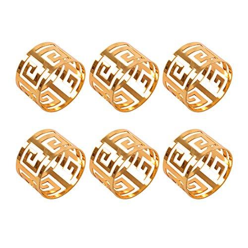 Frjjthchy 6 Pcs Hollow Bridal Napkin Rings Banquet Serviette Buckles (Gold) Coral Branch Napkin Rings