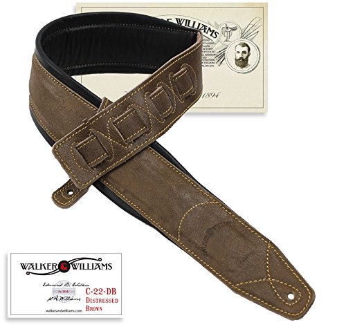 Walker & Williams C-22-DBRN Distressed Brown Leather Strap with Double Padding