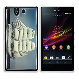 Lovely White Ship in the Ocean This,That & What Nots Sony Xperia Z1 5.0 Snap Cover Premium Aluminum Case Customized Made to Order