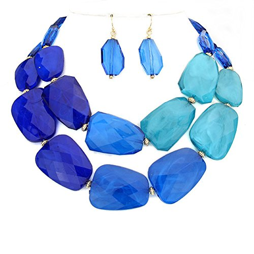 """Double Strand Dangle - Vivid Blue, Deep Teal and Dark Blue Translucent Acrylic Bead Double Strand Necklace, 15"""" Length Plus 3"""" Extender, with Matching Dangle Drop Earrings"""