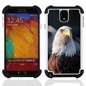 """SAMSUNG Galaxy Note 3 III / N9000 / N9005 - 3 en 1 impreso colorido de Altas Prestaciones PC Funda chaqueta Negro cubierta gel silicona suave (Águila calva Nacional Símbolo estadounidense"""")"""
