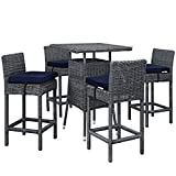 Modern Contemporary Urban Outdoor Patio Five PCS Pub Bar Chairs and Table Set, Navy Blue, Rattan