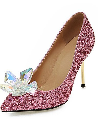GGX/ Zapatos de mujer-Tacón Stiletto-Tacones / Puntiagudos-Tacones-Vestido / Casual / Fiesta y Noche-Purpurina-Negro / Rosa / Blanco / Plata / , golden-us8 / eu39 / uk6 / cn39 , golden-us8 / eu39 / uk pink-us5 / eu35 / uk3 / cn34