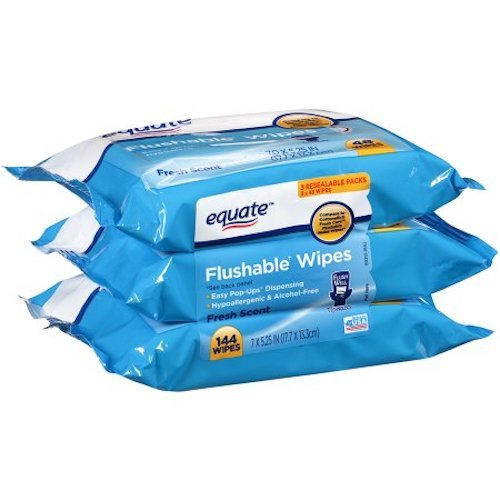 Equate Flushable Wipes Compared to Cottonelle Fresh (48Ct Ea), Pack of 3 by Equate