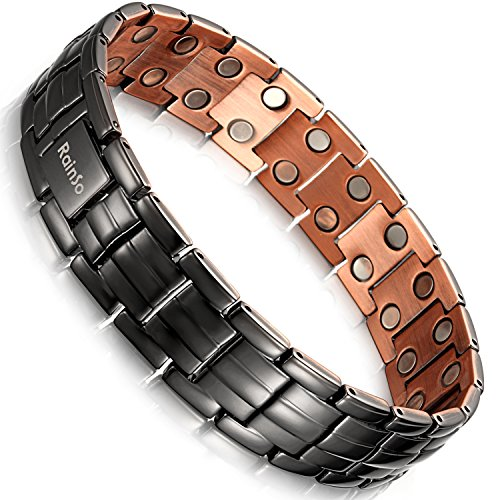 Rainso Mens Matt Gun Black Copper Double Row Magnetic Therapy Bracelets for Arthritis Wristband Adjustable (Gun Black)