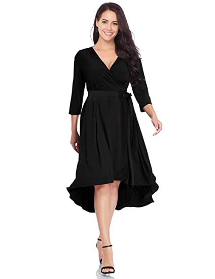 Clearlove Womens Plus Size Bell Sleeve Casual Hi Low Maxi Dress