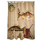 Shower Curtain Bathroom Window Drape Fish and Lures Design