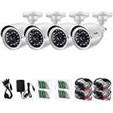 ZOSI 720P HD-TVI Surveillance Camera System with 4 Pack 1280TVL (720p) Weatherproof Day/Night Vision Bullet Security Camera (Certified Refurbished)