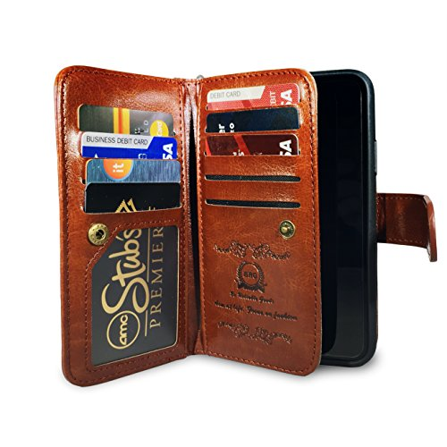 iPhone X Wallet Cases with Magnetic Detachable Leather Case, 9 Card Slots,Wrist Strap, 2 in 1 Folio Flip Premium Leather Wallet Case Support Wireless Charging for iPhone X- Best Gift Idea