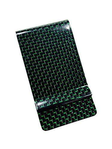 Clip Twill (Money Clip Glossy Carbon Fiber Credit Card MGCFTan Business Card Holder 3K twill Green Carbon)