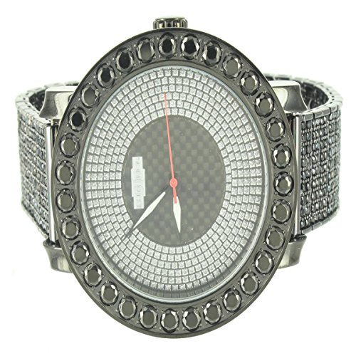 Onyx Black Stone Bezel Men Steel Kronos Silver Dial Watch Metal Band Techno Star