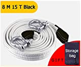 Tow Rope,Traction Rope Recovery Straps Hook Cord Pull,for SUV Car Trucks Vehicle Off-Road Outdoor Rescue,3M(9.8ft)-8M(26ft) 5Tons(11023lb)-15Tons(33069lb) Resistenza Sicurezza (Color : 8M15T Black)