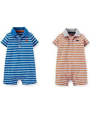 Baby Boys 2 Jersey Striped Romper Set