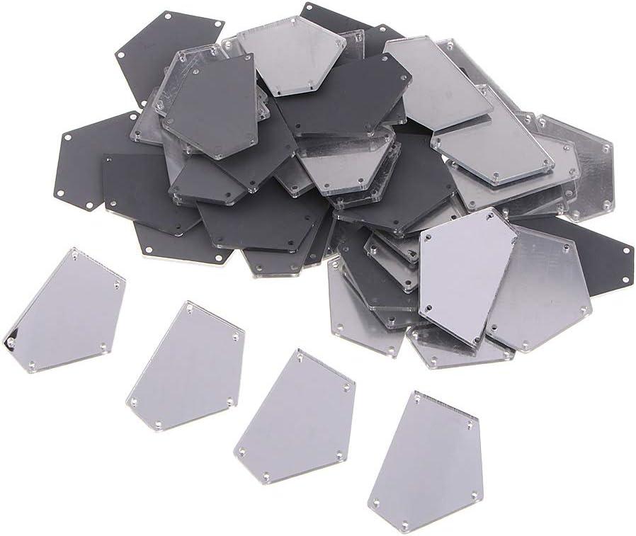 Silber chiwanji 50 St/ück Flach Spiegel Strass Aufn/ähsteine Glitzersteine Strasssteine Aufn/ähen Kleidung N/ähen