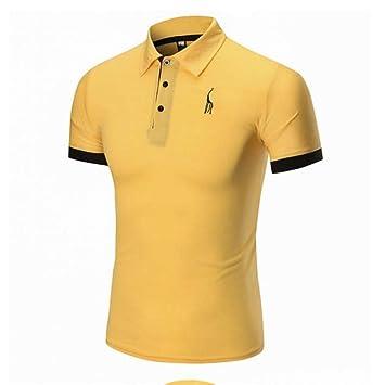 NISHISHOUZI Polo,Amarillo Mens Polo Shirt Moda Casual Ciervo Slim ...