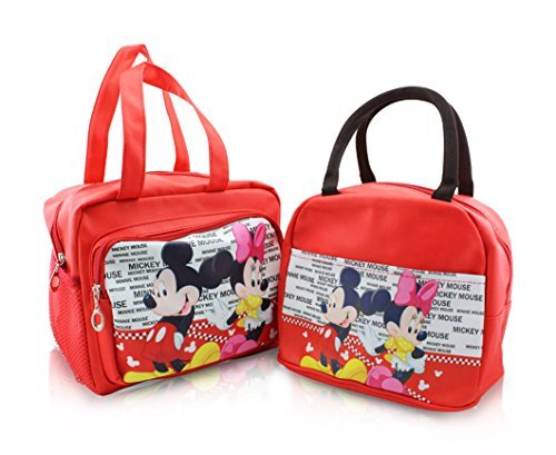 Finex - Set of 2 - Red Mickey and Minnie Mouse Premium PU Leather Zippered Lunch Tote Bag with Carry Handles - Large and Slim totes