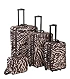 Rockland Luggage 4 Piece Luggage Set, Brown Zebra, One Size