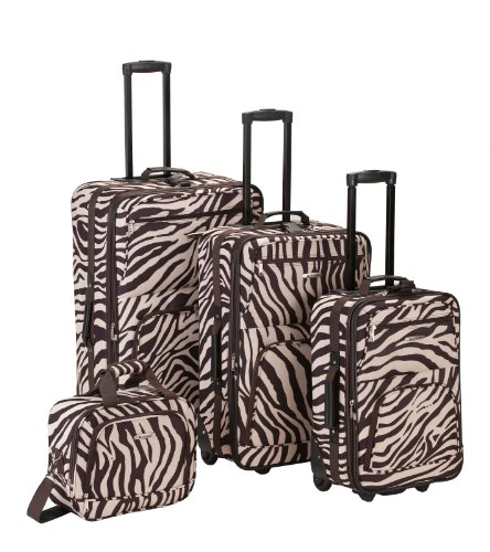 Fox Rockland Luggage 4 Piece Luggage Set, Brown Zebra, On...